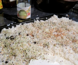 Dressed and seasoned sushi rice