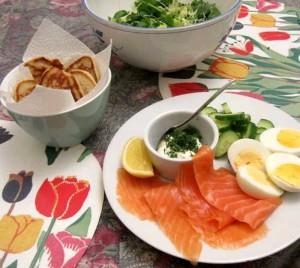 Smoked Salmon, creme fraiche with dill, blinis