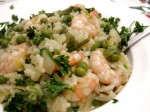 Risotto with Prawns, Leeks and Peas
